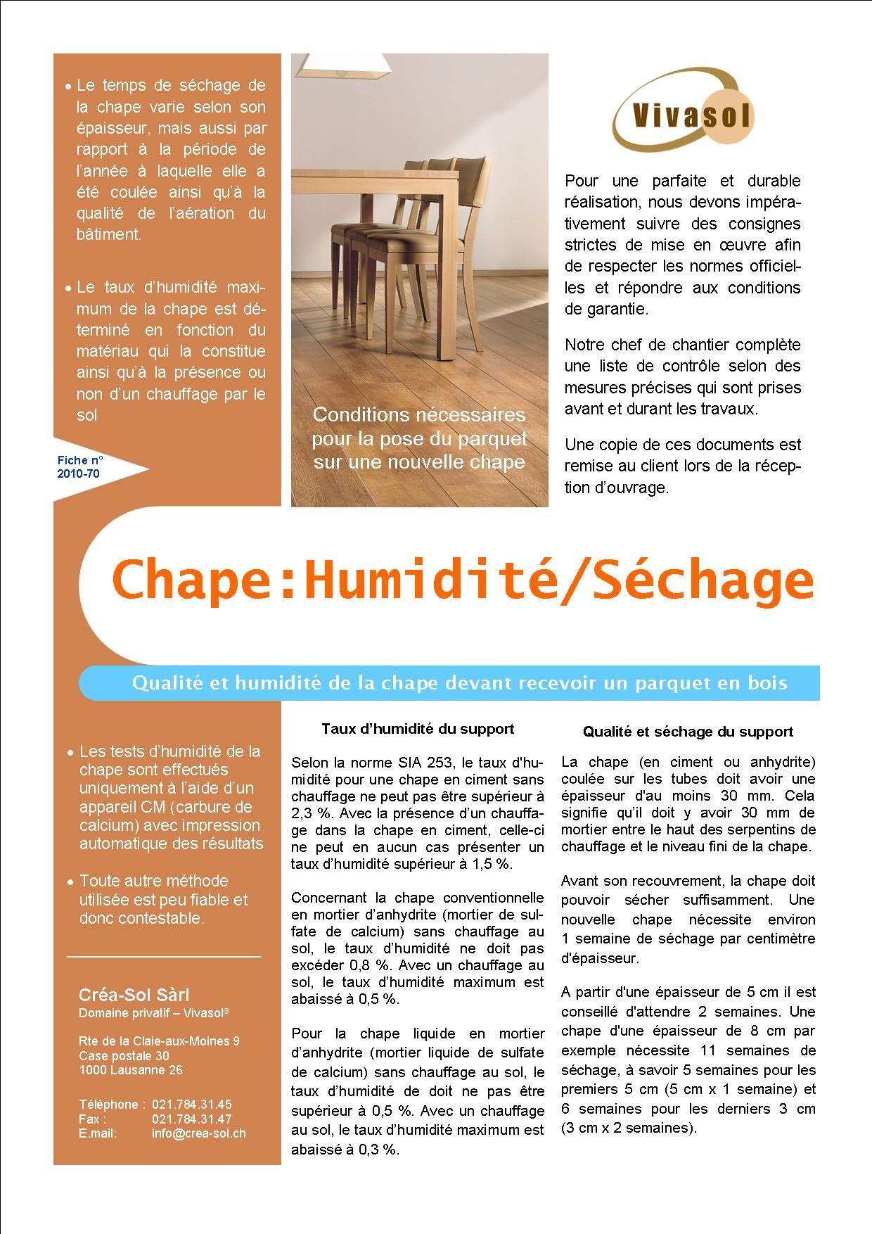 cr a sol s rl chape humidit s chage. Black Bedroom Furniture Sets. Home Design Ideas